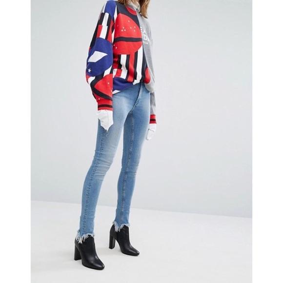 Cheap Monday Denim - Cheap Monday Second Skin High Rise Fray Hem Jeans